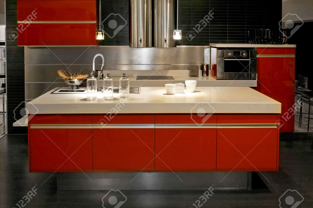 All Red Kitchen Big Red Kitchen Counter With All Appliances Stock Photo Picture