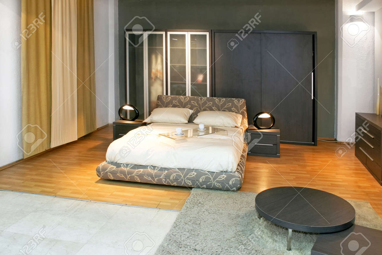 Modern double bed and big wardrobe closet Stock Photo - 3180581
