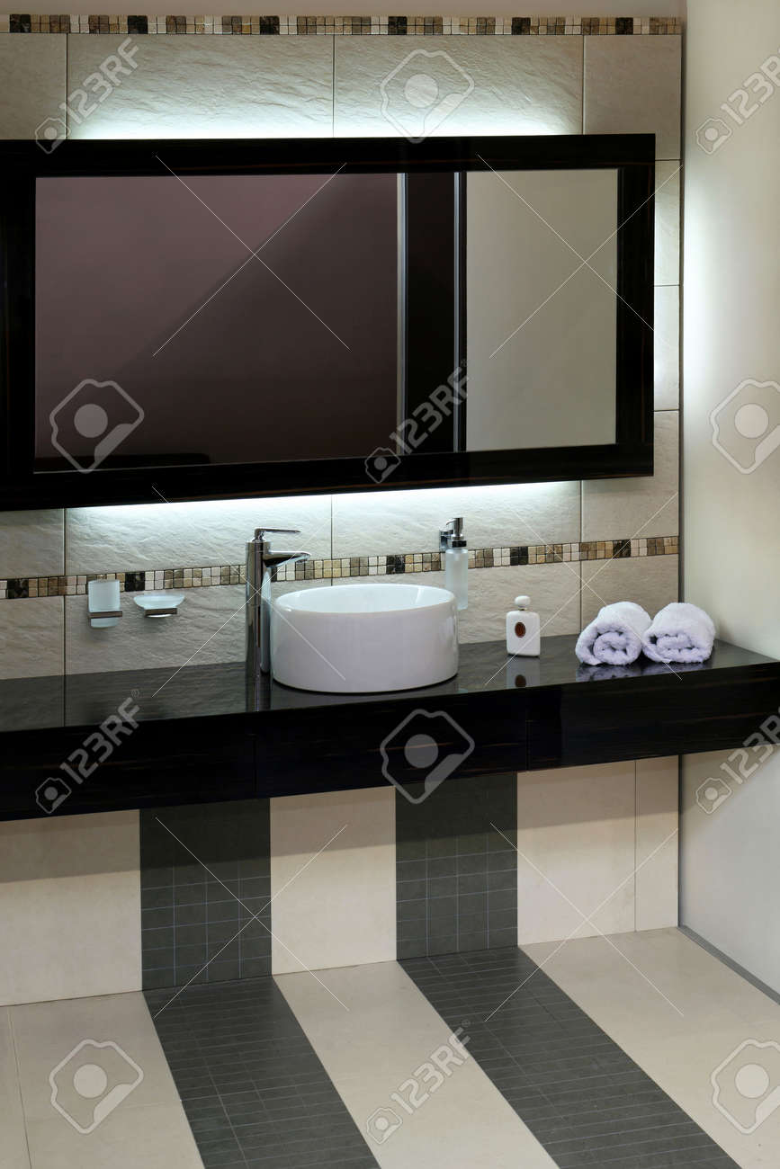 Luxury Bathroom With Modern Basin And Big Mirror Stock Photo ...