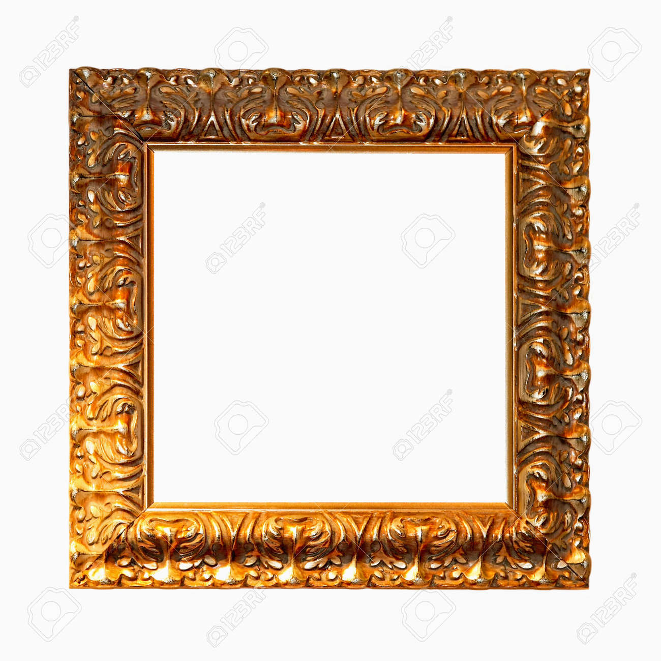 Big Square Frame In Pure Gold Color Stock Photo, Picture And Royalty ...