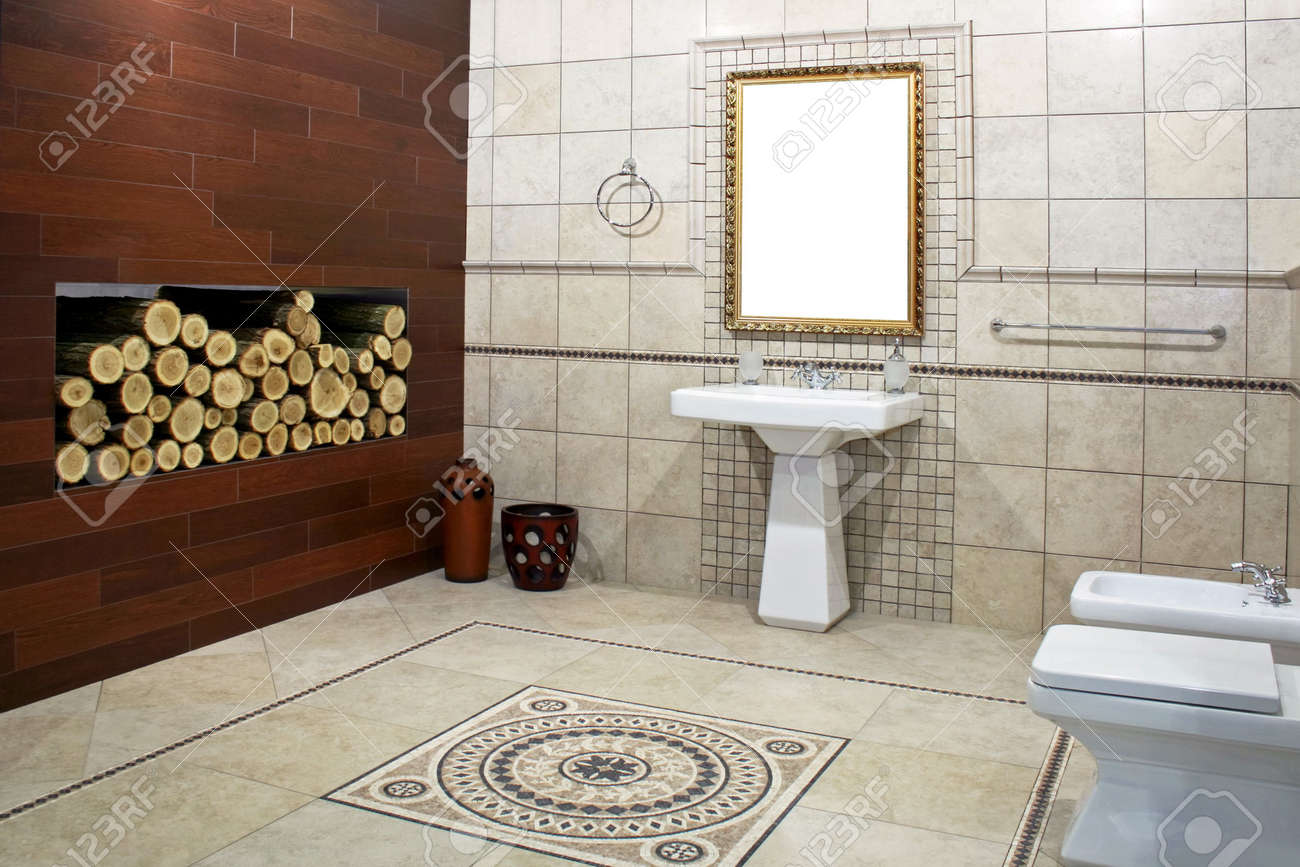 Italian Style Bathroom With Ancient Mosaic And Logwood Stock Photo   3265450 Part 16