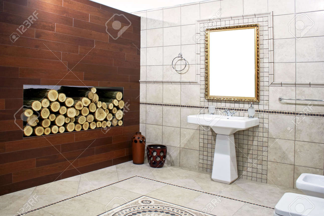Italian Style Bathroom With Ancient Mosaic And Logwood Stock Photo   3346836