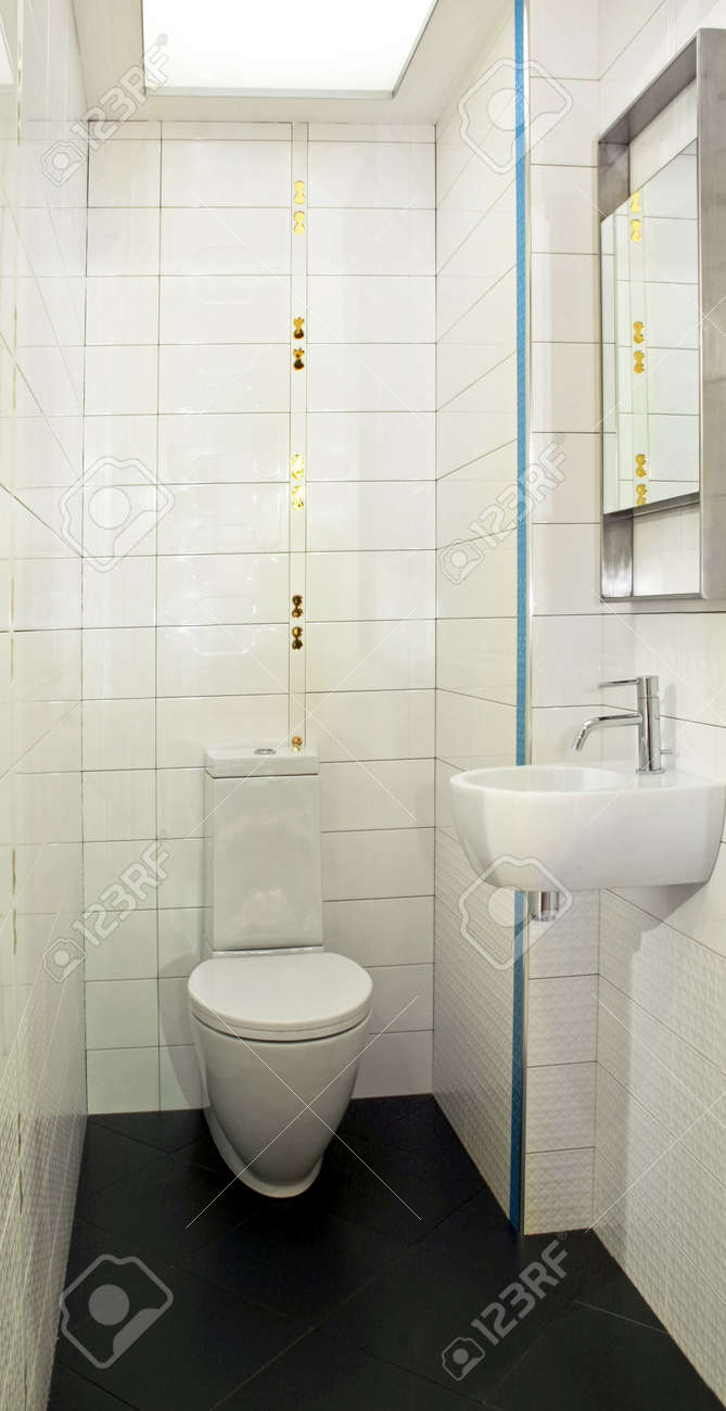 Basin And Toilet In Very Small Lavatory Stock Photo, Picture And ...