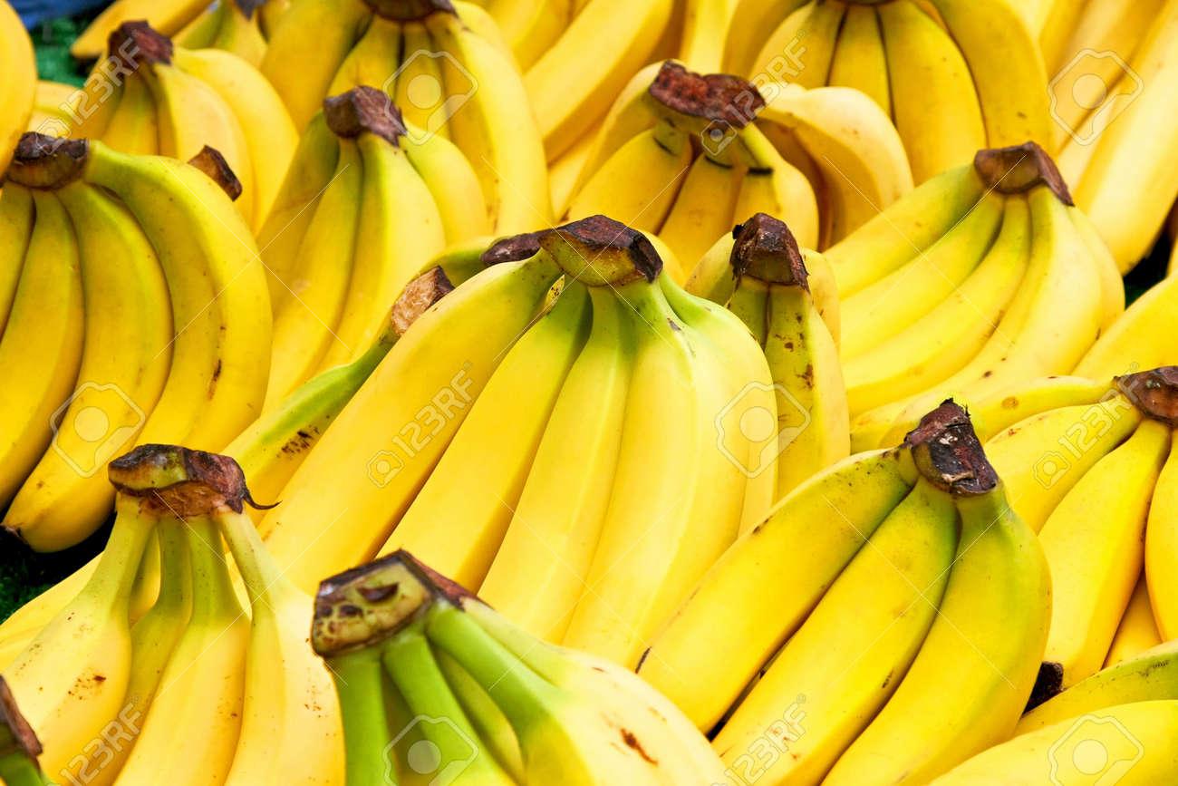 Bunch of fresh tropical yellow bananas fruit Stock Photo - 3482609