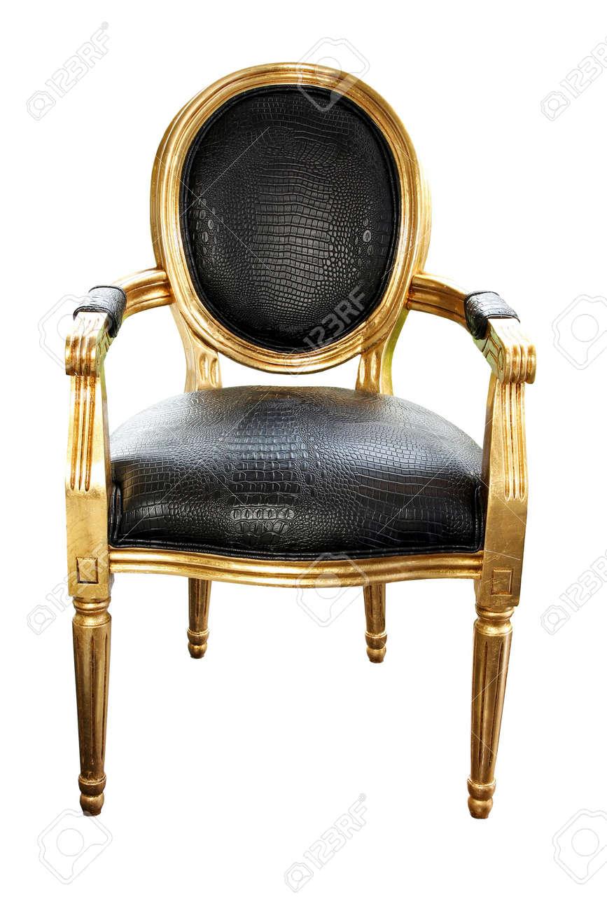 Groovy Luxurious Golden Chair With Crocodile Leather Isolated Creativecarmelina Interior Chair Design Creativecarmelinacom