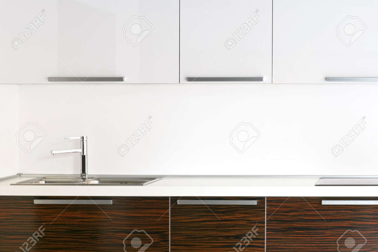 Kitchen Top Bright Kitchen Counter Top With Wooden Details Stock Photo