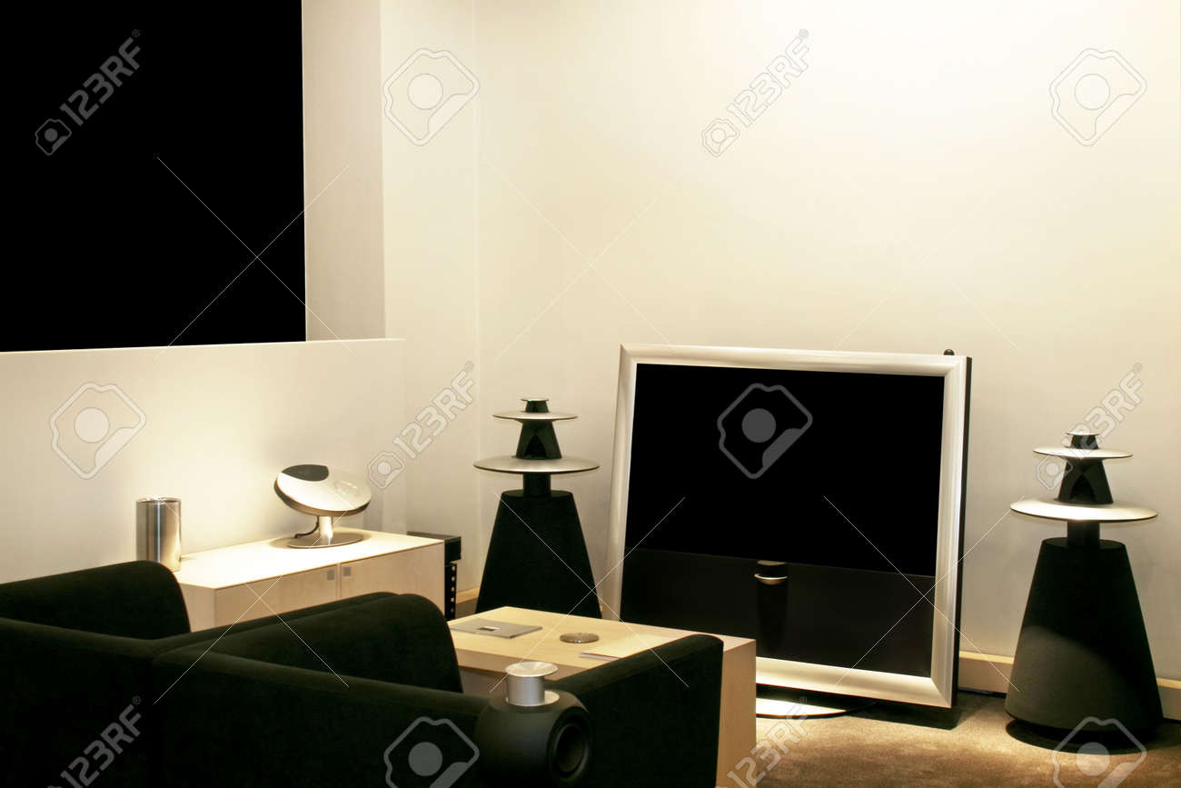 Big TV With Speakers In Living Room Stock Photo, Picture And Royalty ...