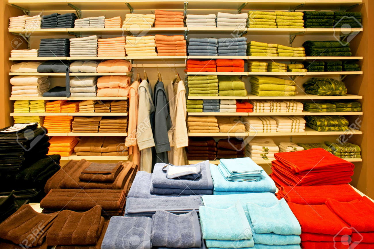 Big shelf with soft and clean towels Stock Photo - 3877407