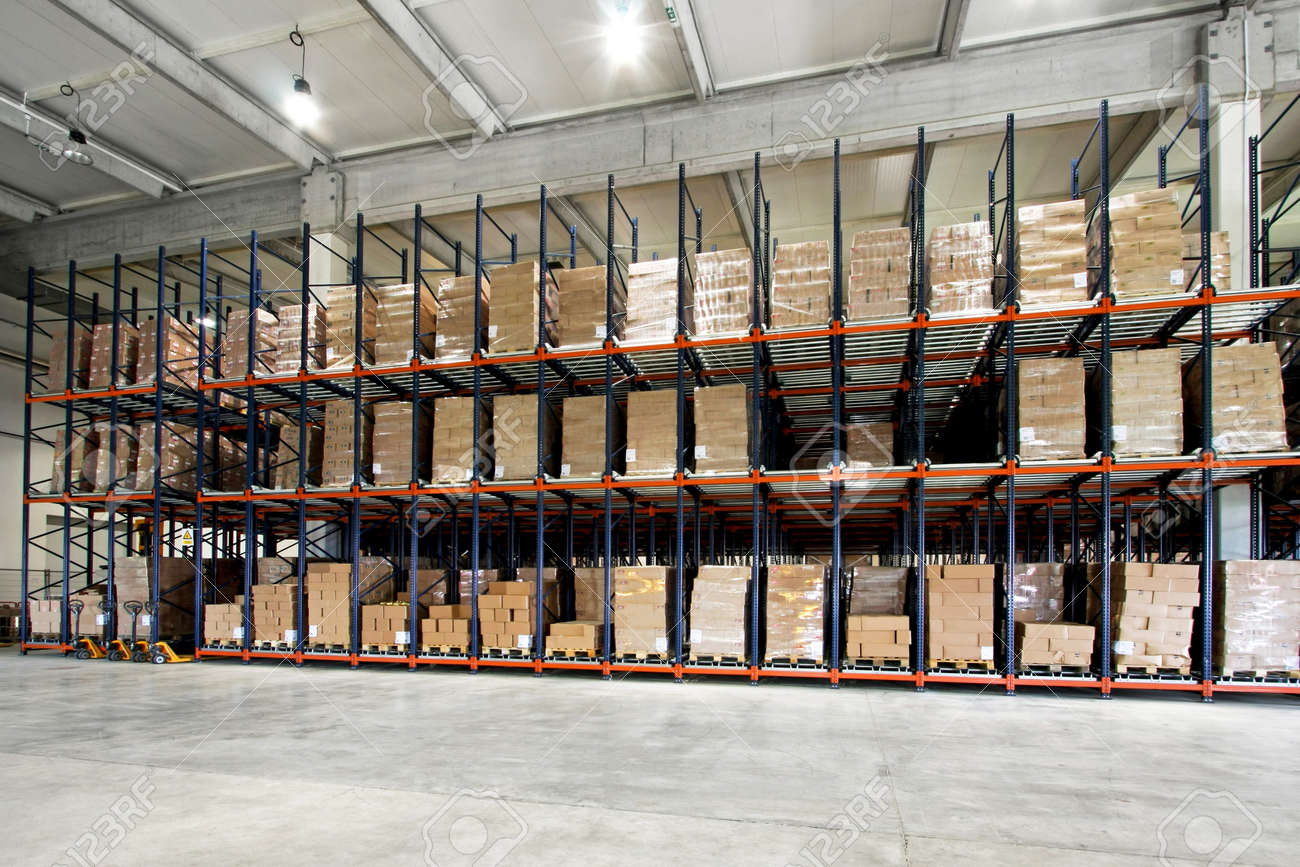 Big shelf with lot of pallets in warehouse Stock Photo - 3960349