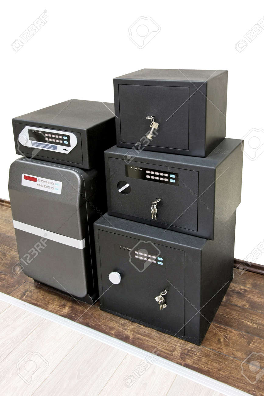 Angle shot of bunch black safe boxes Stock Photo - 4070548