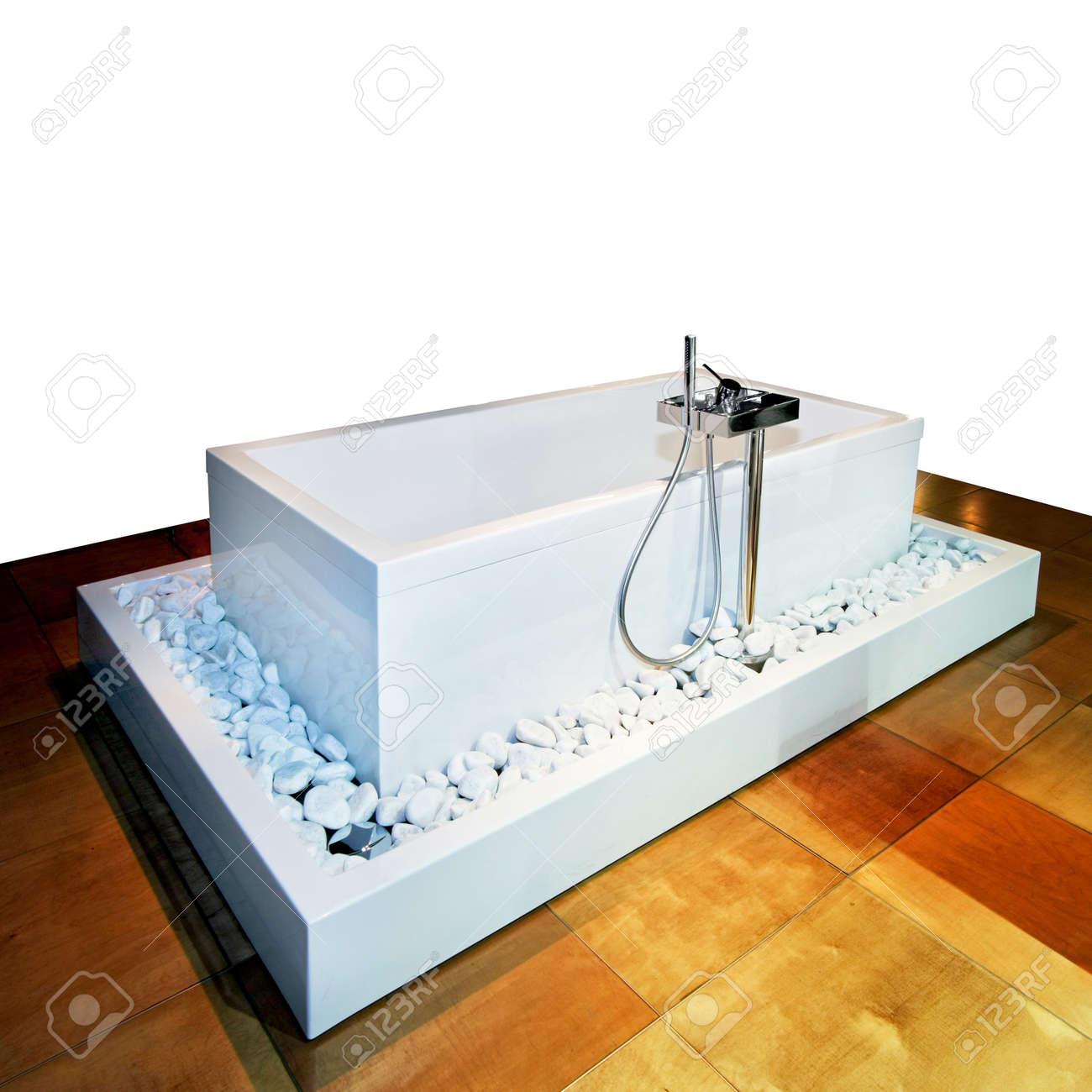 Rectangular Bathtub In Bathroom With Wooden Floor Stock Photo ...