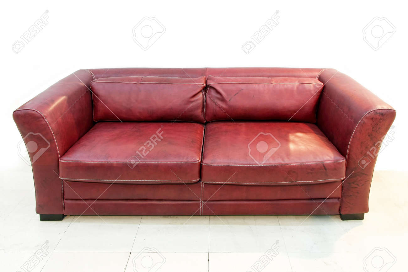 Contemporary leather sofa in burgundy red color