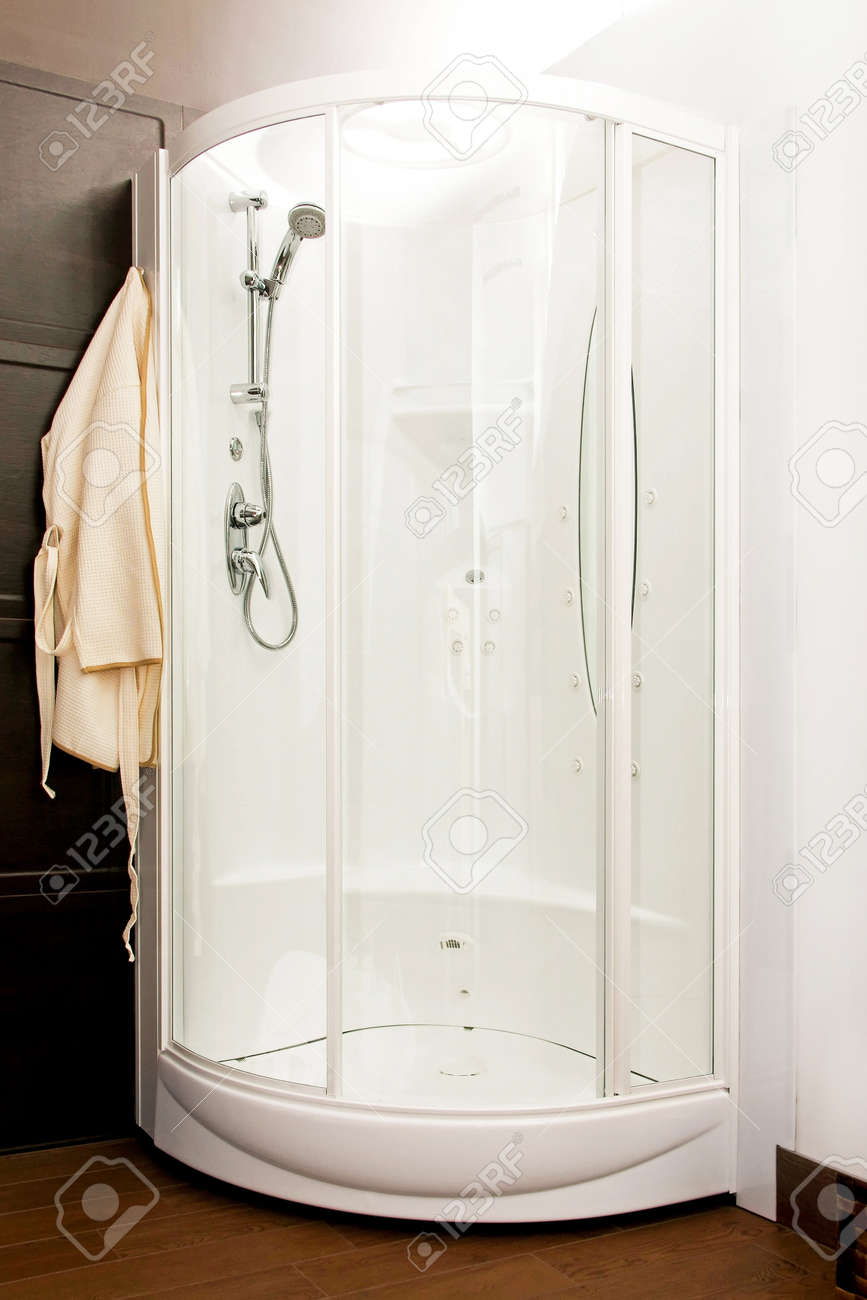 Big round cabin shower in bathroom corner Stock Photo - 4432258