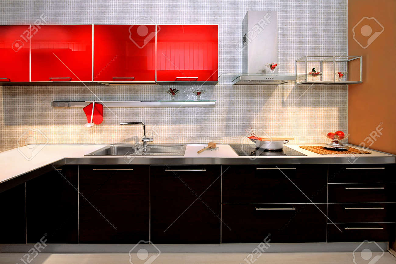 Interior of red kitchen with contemporary counter Stock Photo - 4648709