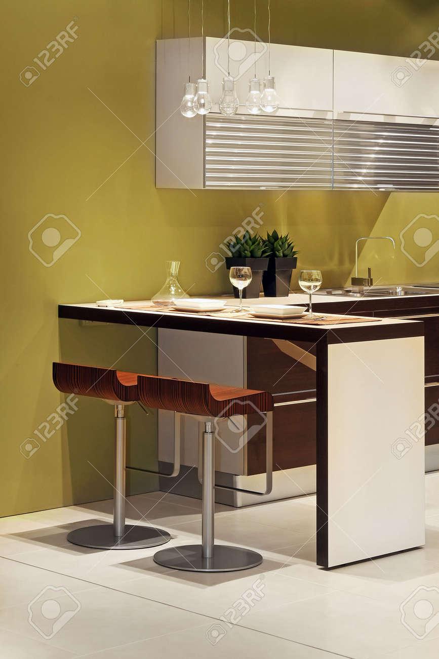 Kitchen Counter Bar Modern Kitchen With Counter Bar And Two Chairs Stock Photo
