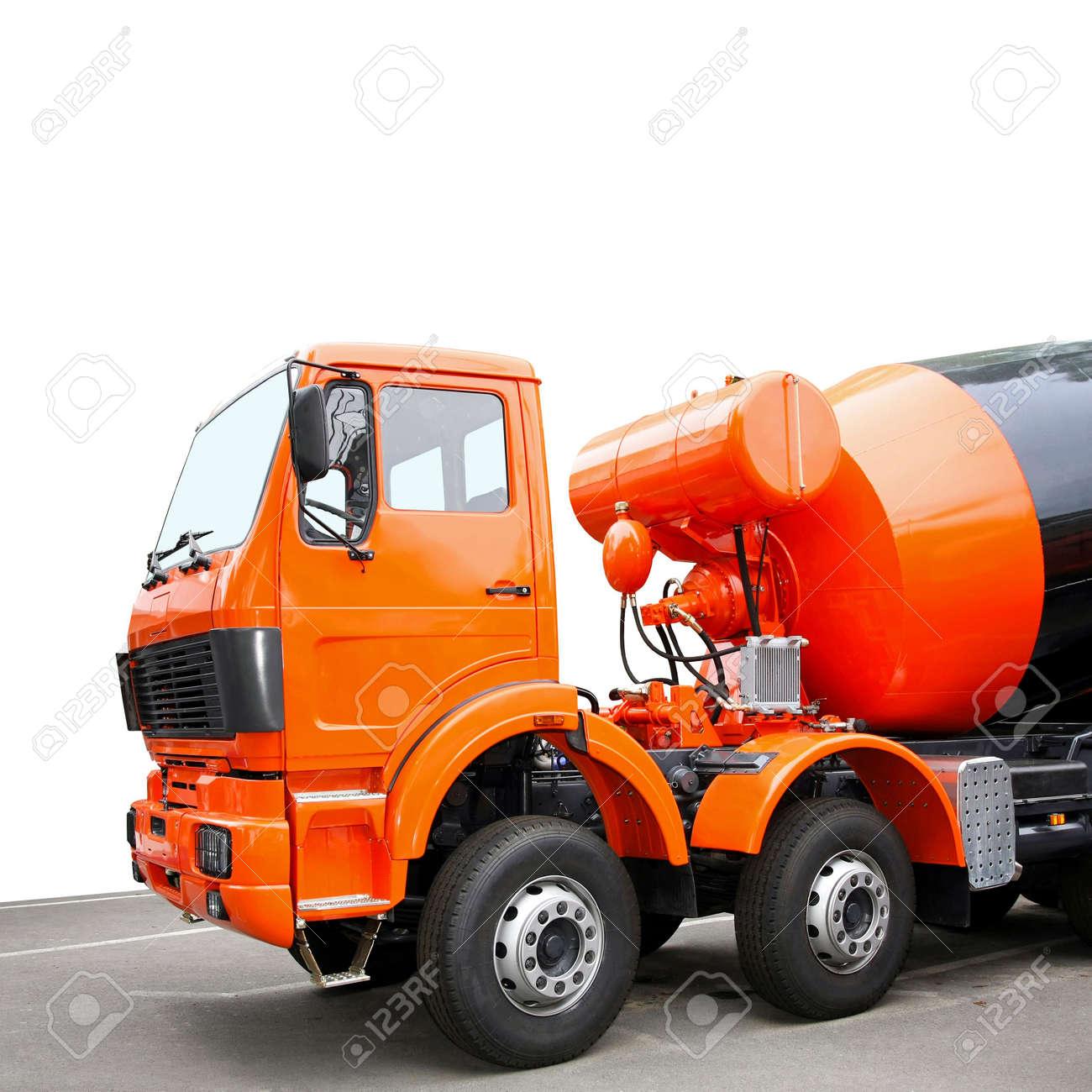 Orange Cement Mixer Front View of Orange Cement