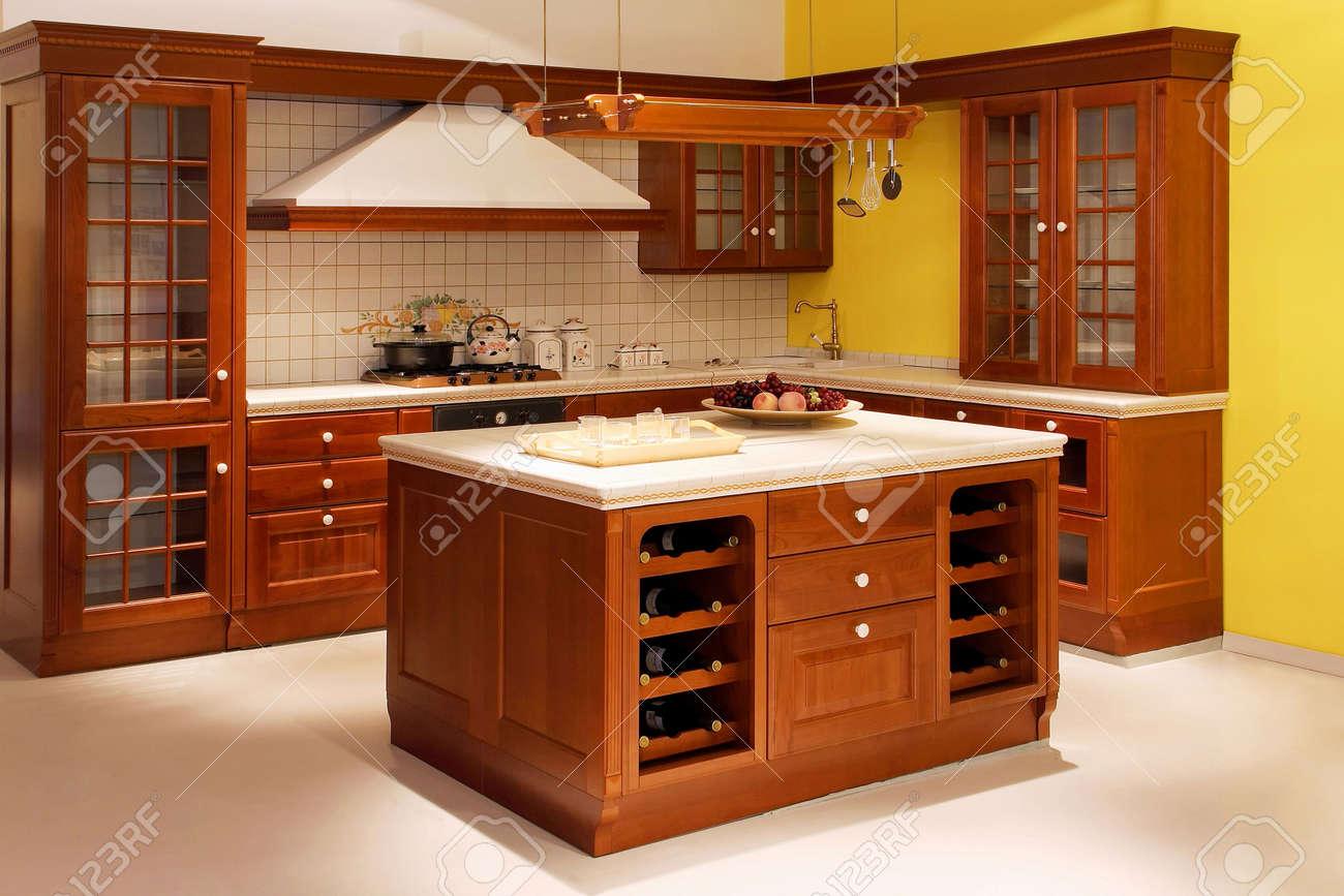 Interior Schuss Küche Im Amerikanischen Stil Aus Holz Standard Bild    4847577