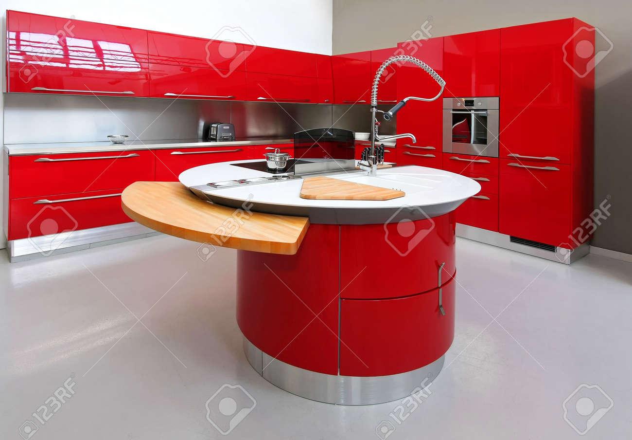 Banque Du0027images   Plan Intérieur De La Grande Cuisine Moderne Rouge