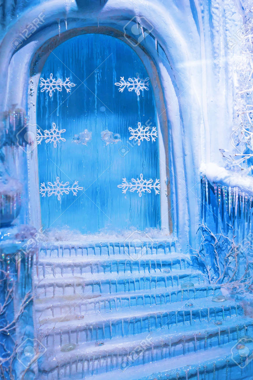 Blue door and frozen stairway at winter night Stock Photo - 5952725 & Blue Door And Frozen Stairway At Winter Night Stock Photo Picture ...