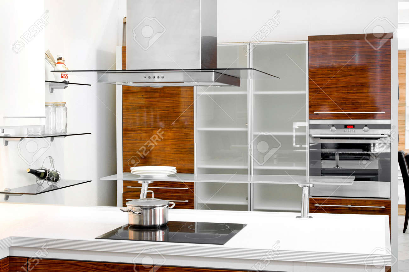 Interior of wooden kitchen with modern appliances Stock Photo - 6017202