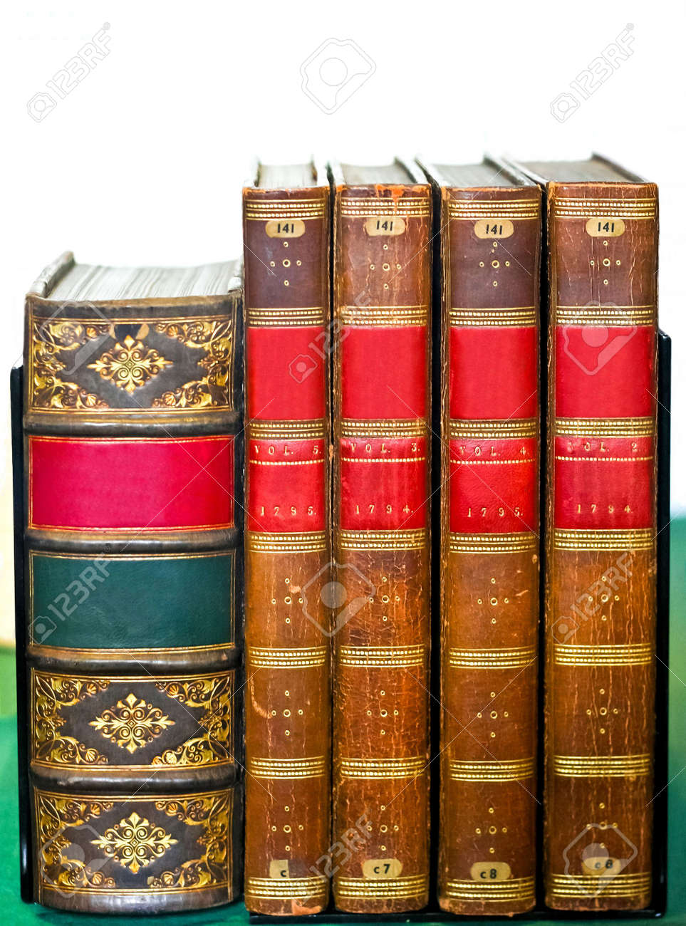 Very old medieval books at library shelf Stock Photo - 7475065
