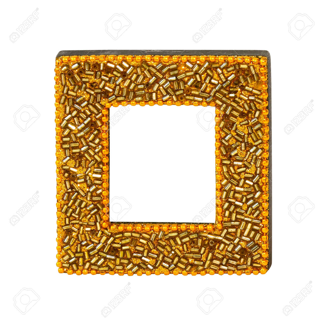 gold pearls square frame isolated stock photo 7630535