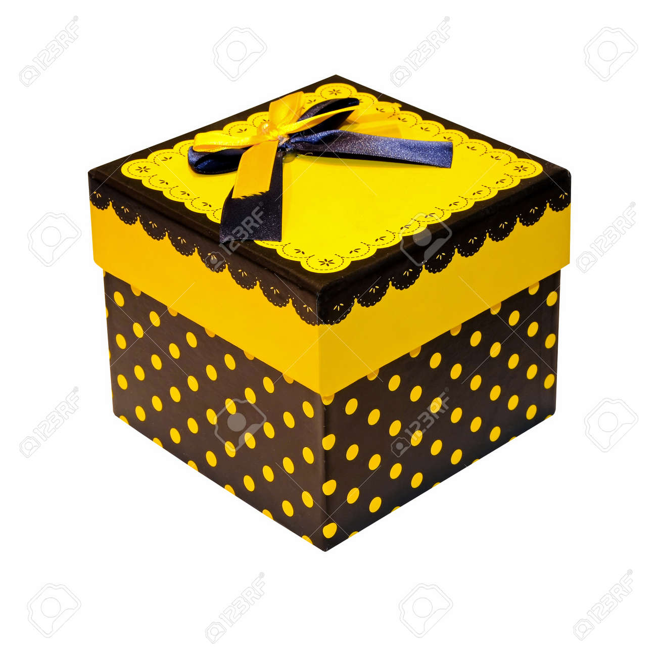 Decorative Yellow Gift Box Stock Photo, Picture And Royalty Free ...