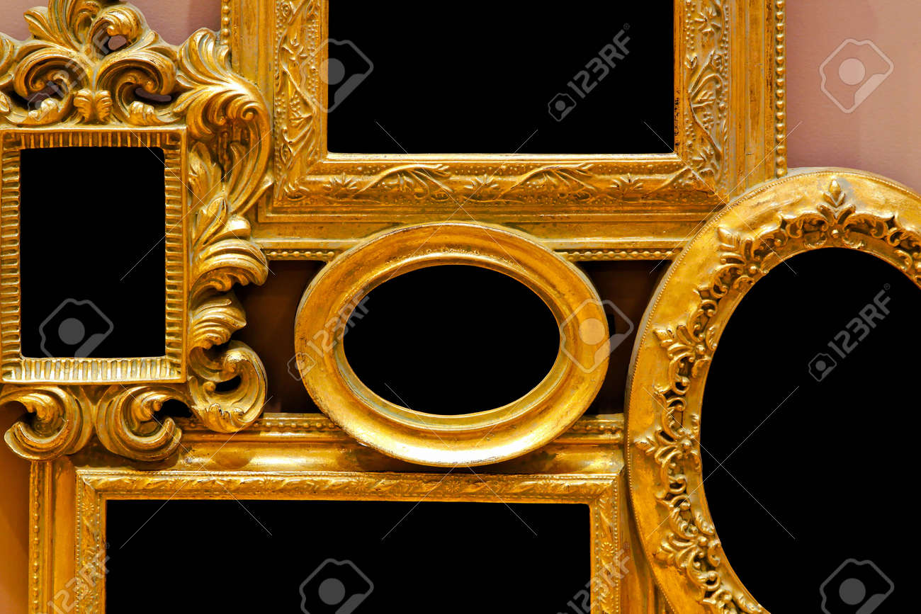 Collage Of Antique Gold Frames With Carved Edges Stock Photo