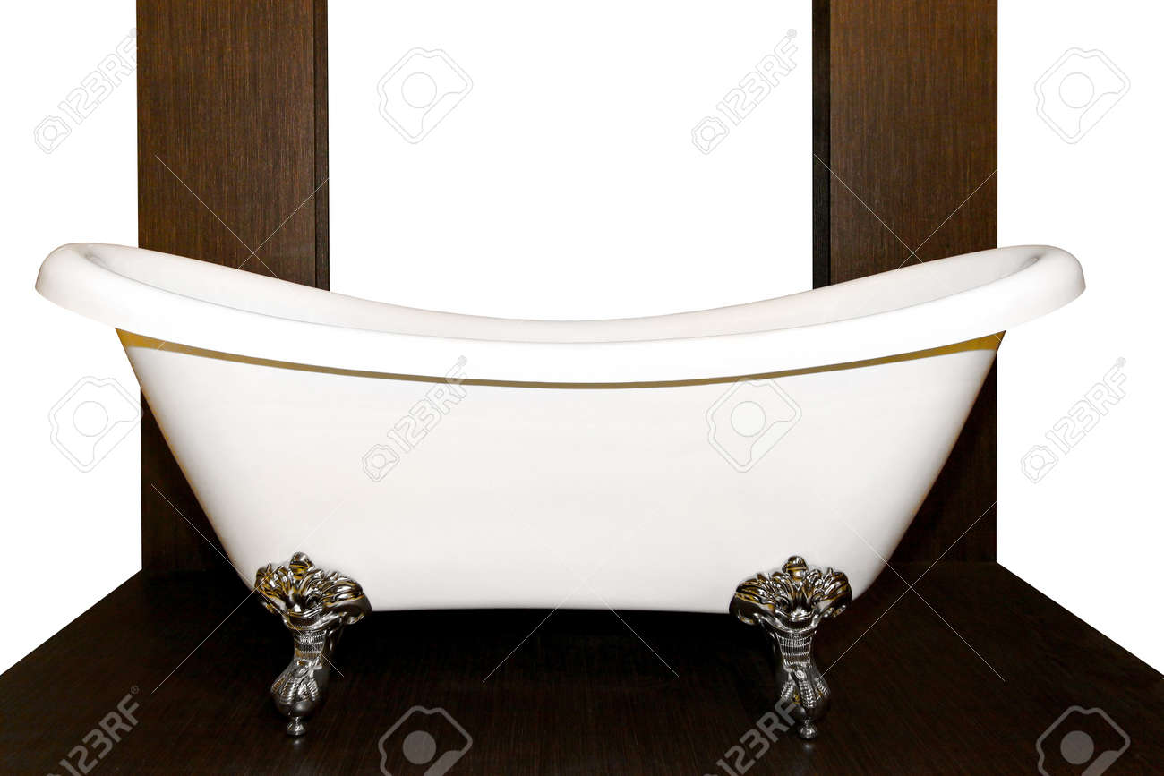 Old Style Bathtub With Legs In Wooden Bathroom Stock Photo, Picture ...