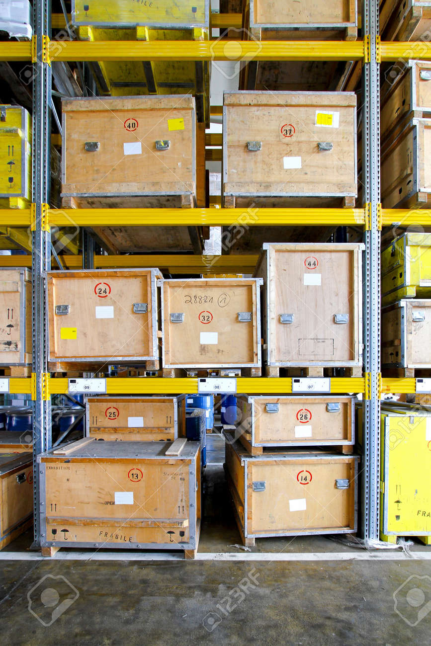 Transportation crates at shelf in museum warehouse Stock Photo - 8575103