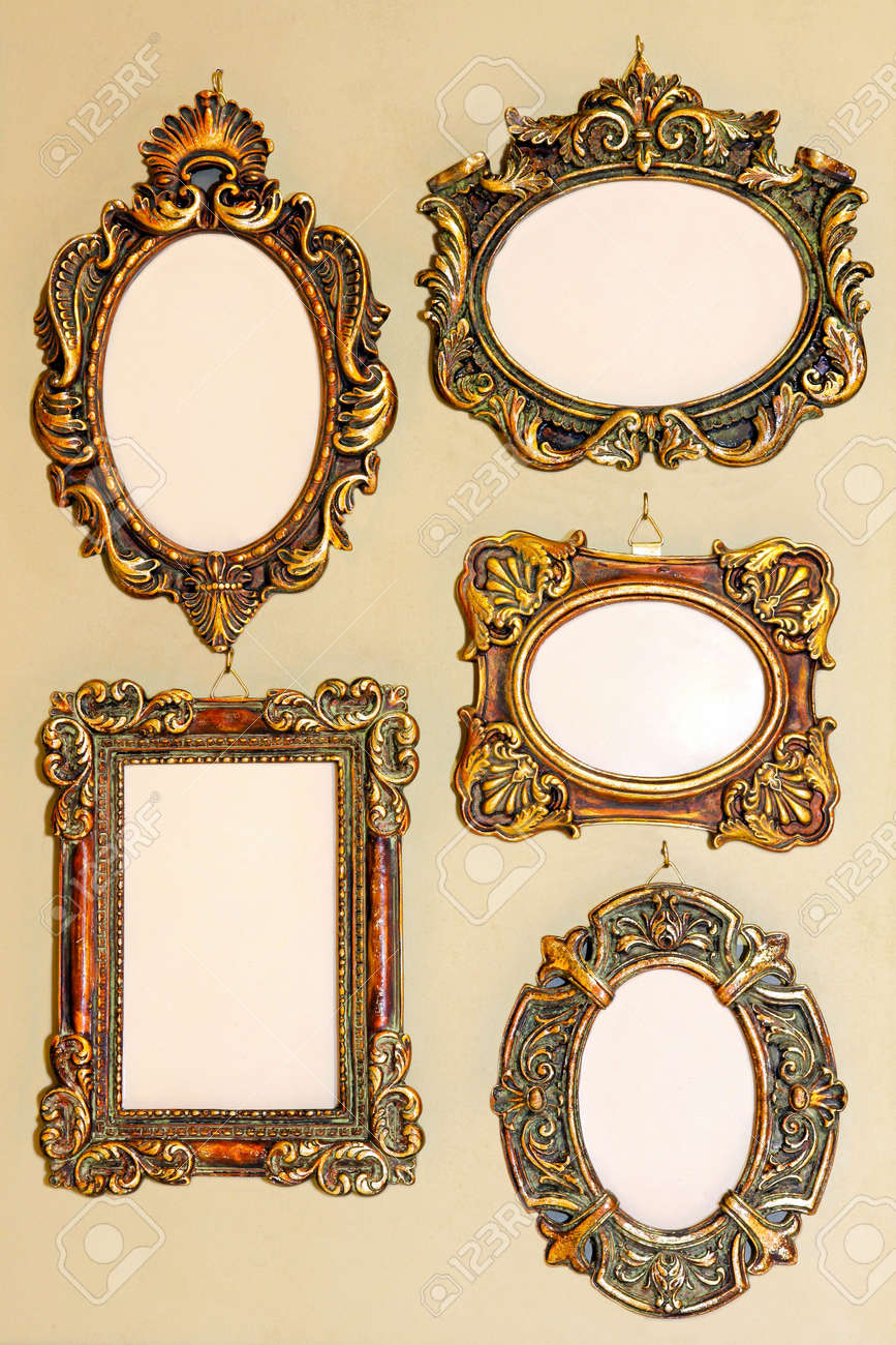 five different shape very old golden frames stock photo 8602417