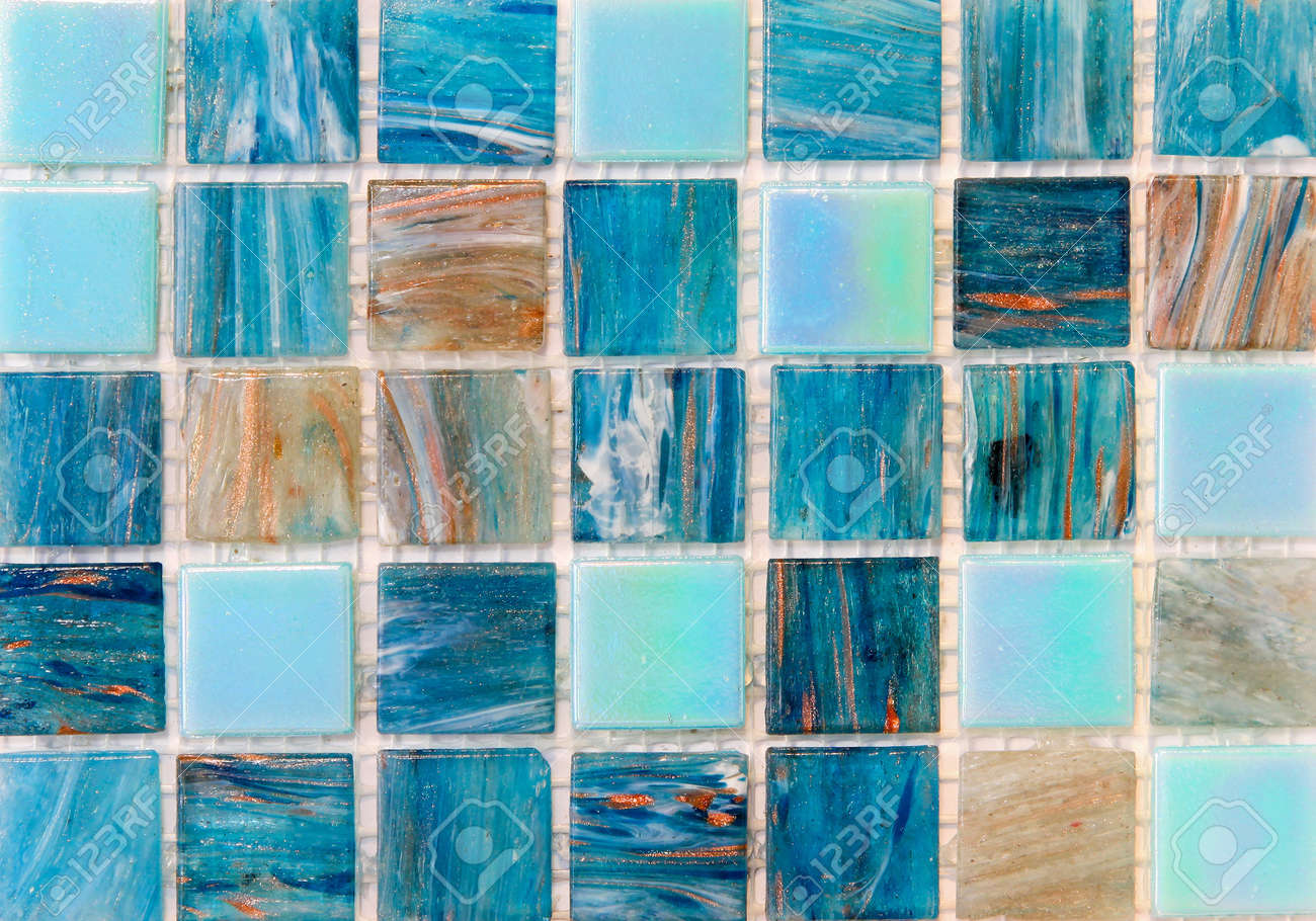 Blue Texture Mosaic Tiles For Swimming Pool Stock Photo, Picture And ...
