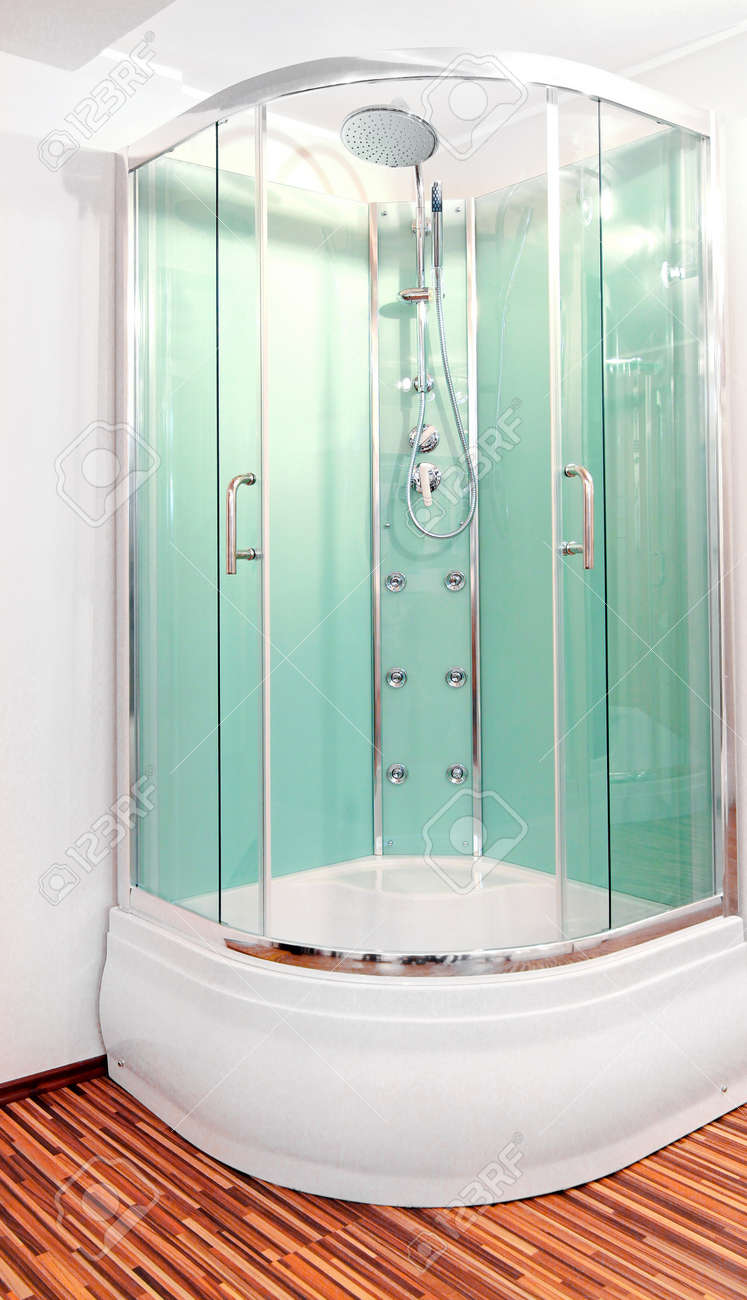 Shower Cabin With Green Glass Doors In Corner Stock Photo, Picture ...