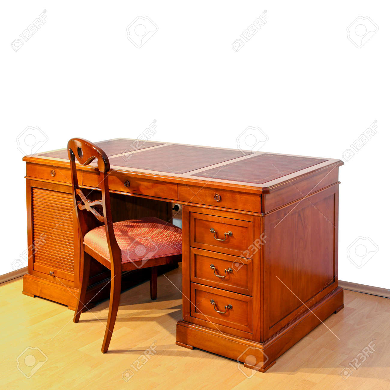 Stock Photo - Very old wooden work desk with chair - Very Old Wooden Work Desk With Chair Stock Photo, Picture And