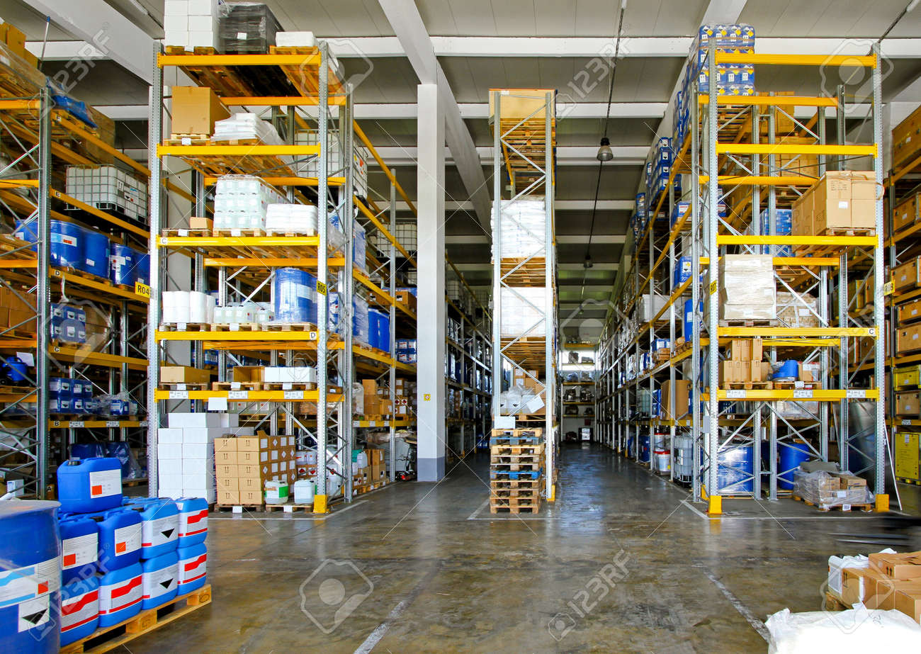 Big warehouse with chemical material in barrels Stock Photo - 9311655
