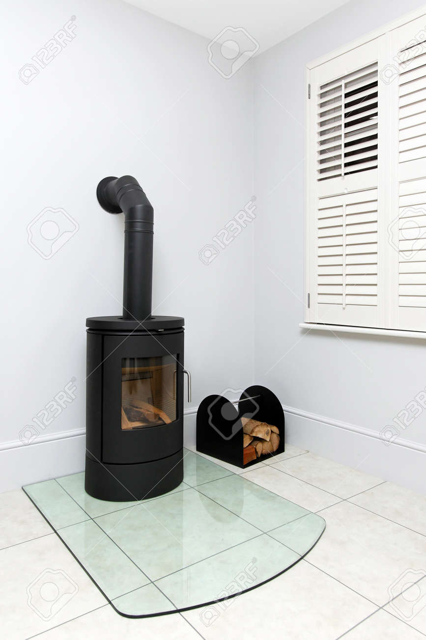 free standing cast iron wood burning stove stock photo picture