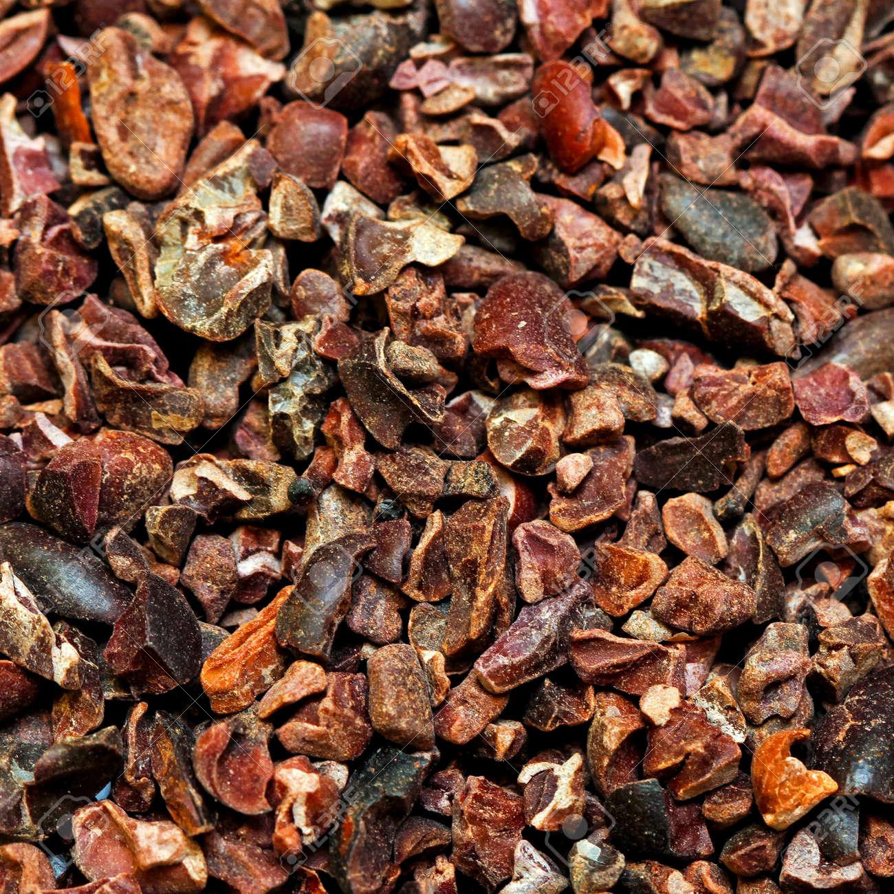 Bunch of raw organic crushed cocoa nibs Stock Photo - 9815042