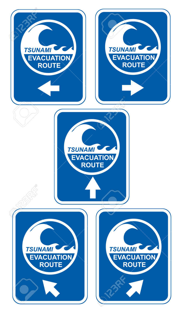 Tsunami warning signs showing evacuation route directions