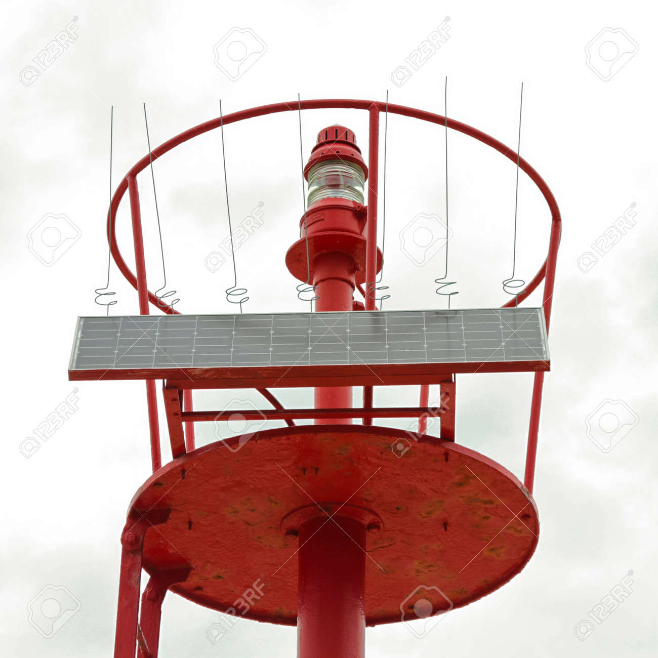 Red lighthouse strobe powered by solar cell Stock Photo - 9950237
