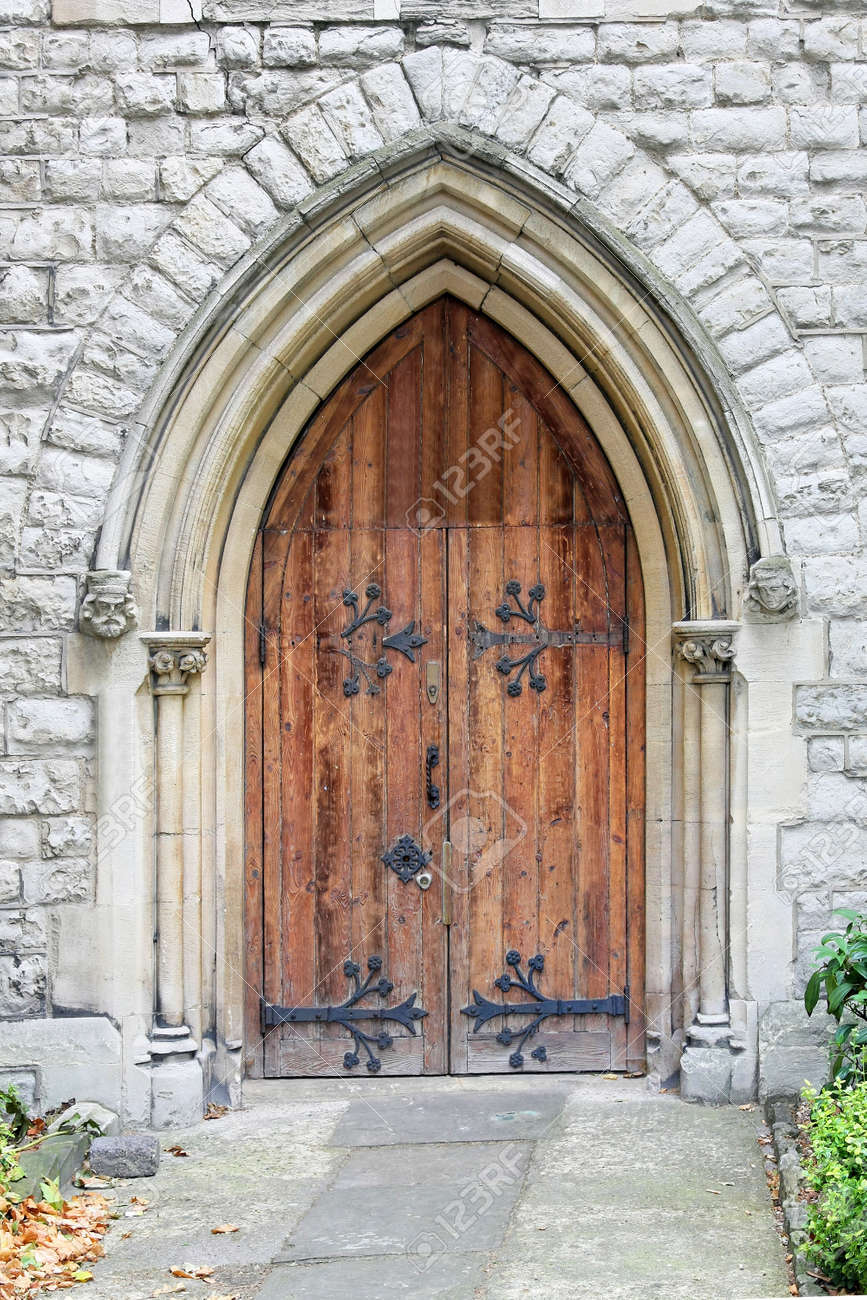 Old door on ancient Christian Protestant church Stock Photo - 10259847