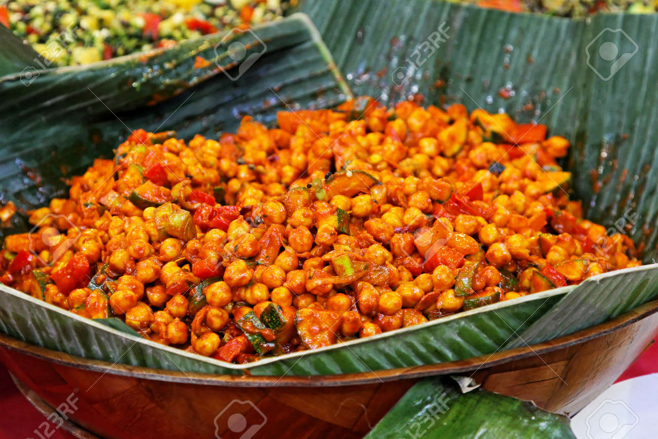 Vegetarian Chickpeas Meal Traditional West Africa Food Stock Photo