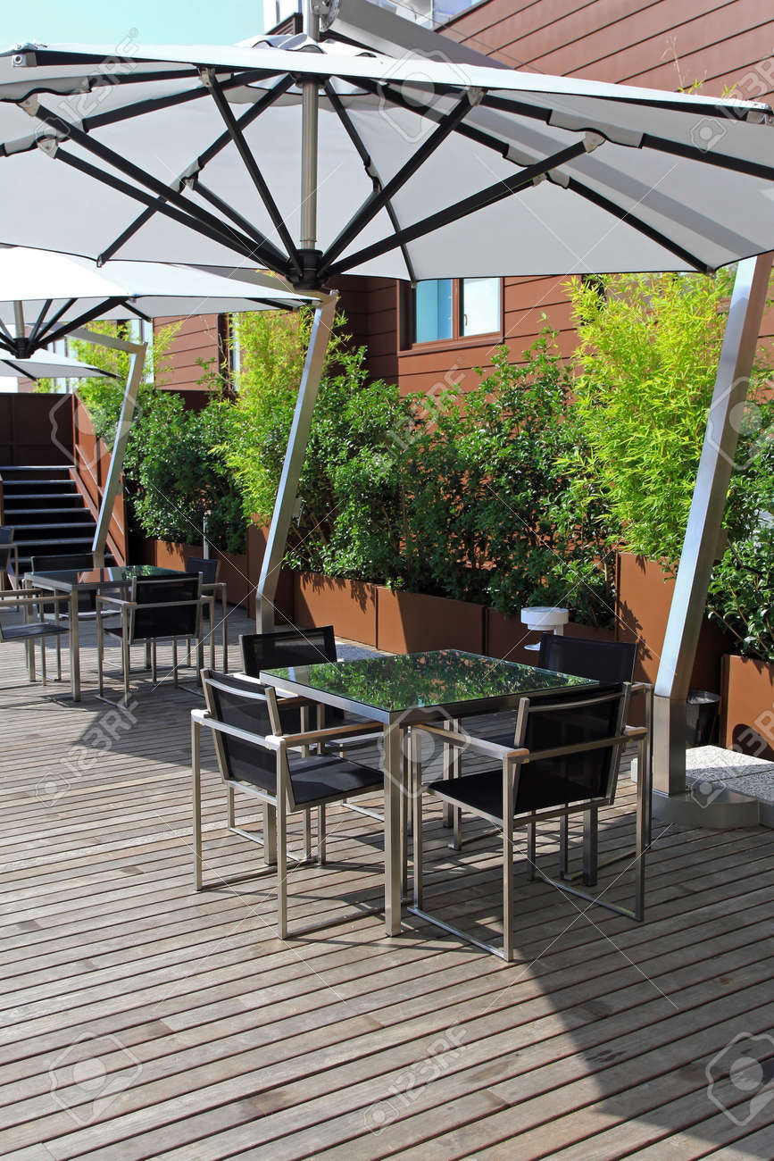 Rooftop Terrace With Small Green Garden Oasis Stock Photo Picture