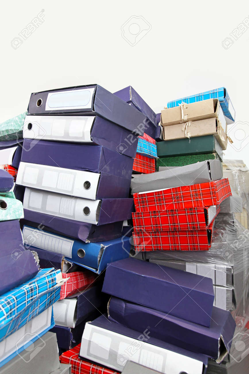 Big bunch of used ring binders in storage room Stock Photo - 12351367