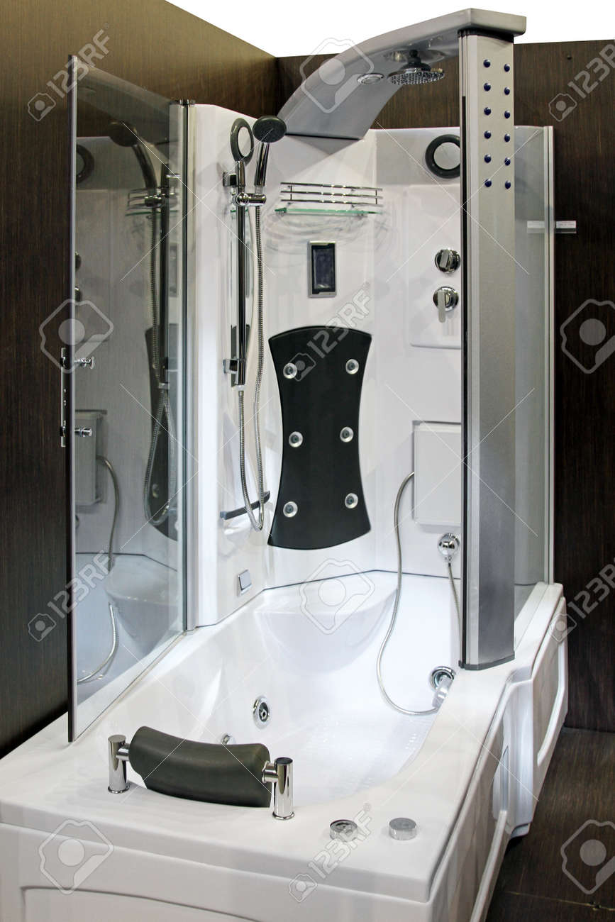 Modern Bathtub And Shower With Hydro Massage Jets Stock Photo ...