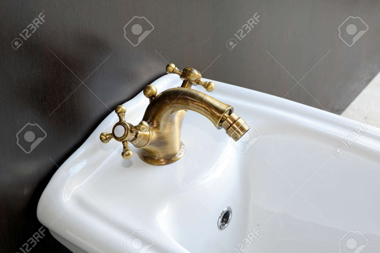 Retro style bidet with manual brass faucet Stock Photo - 12880149