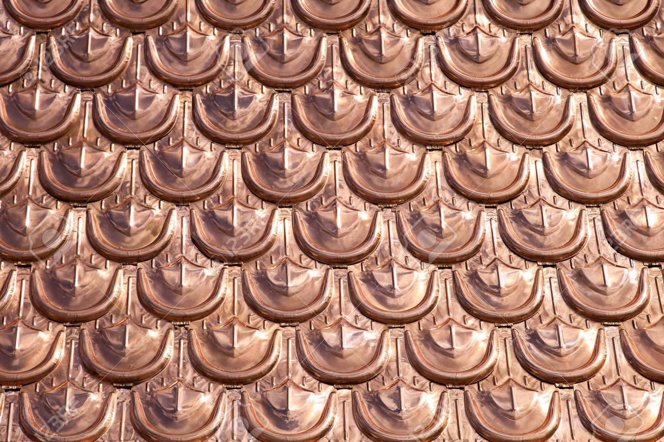 Expencive and luxury cooper roofing pattern background Stock Photo - 14931960