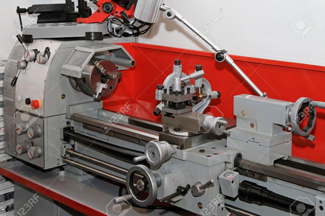 Metalwork lathe machine tool in work shop Stock Photo - 15079773
