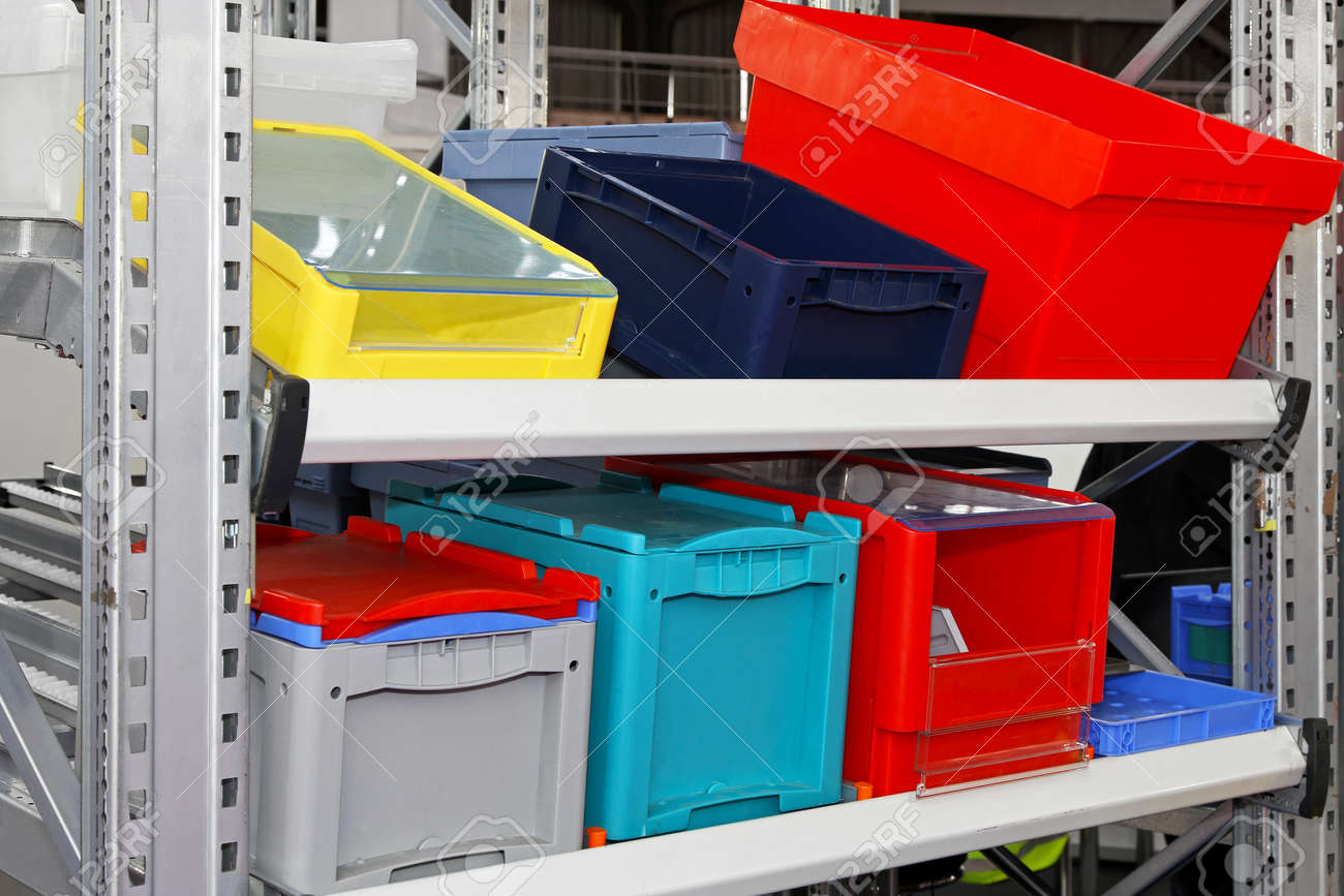 Colourful plastic boxes and crates for logistic transportation Stock Photo - 15548839