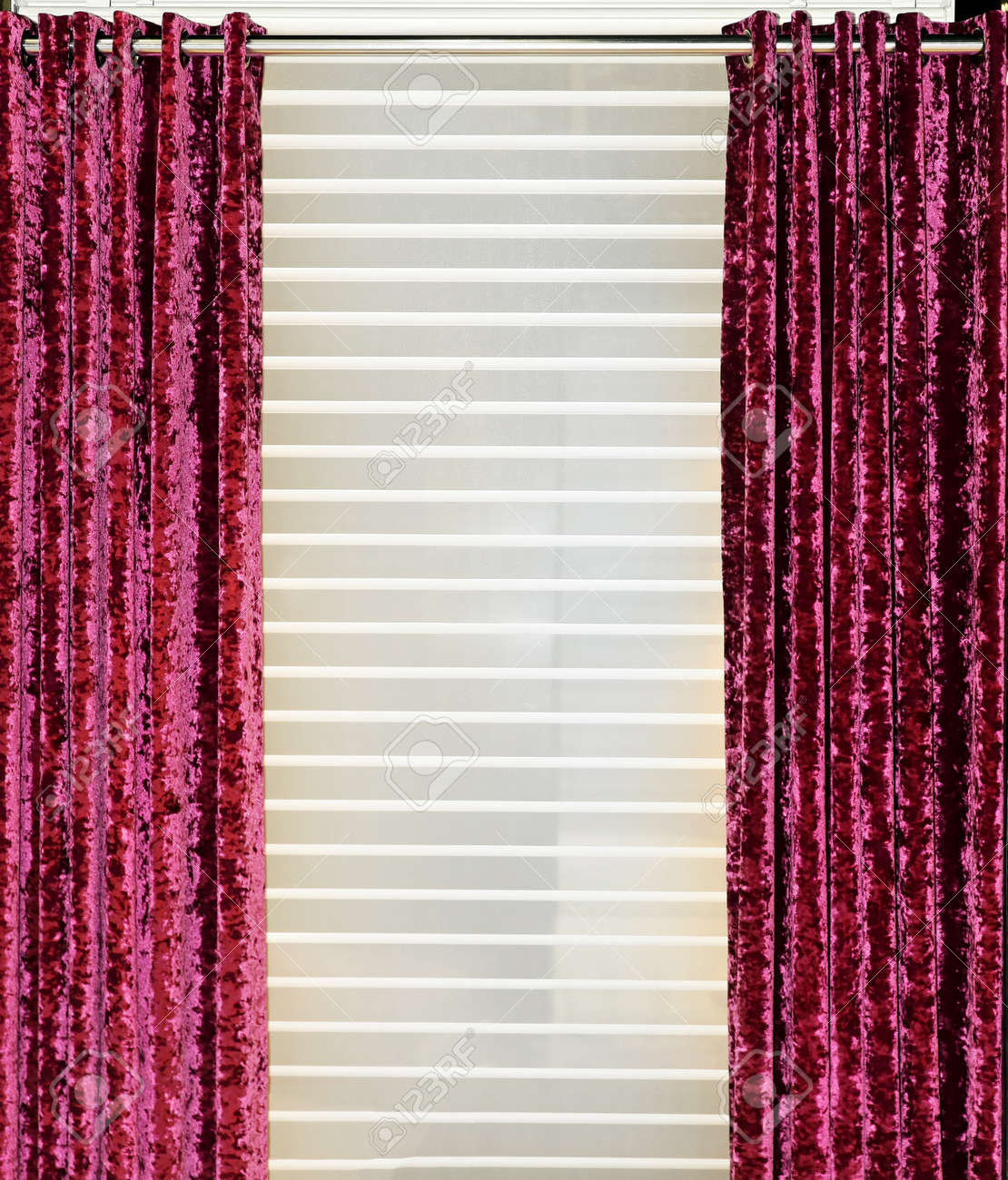 Red velvet window curtains - Detail Of Decorative Red Velvet Curtains In Home Interior Stock Photo 15713925