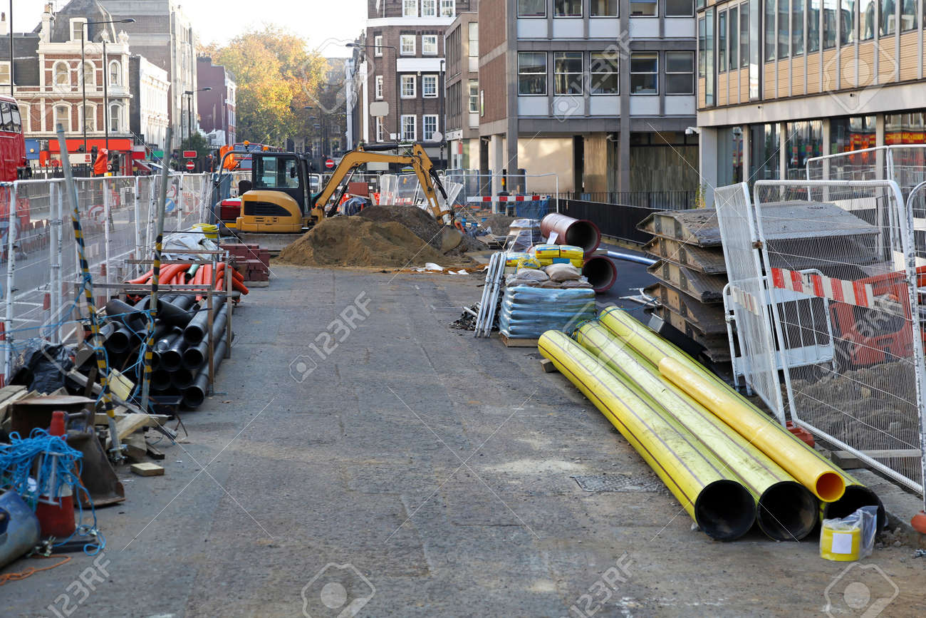 Construction site with material and machinery in the city Stock Photo - 15737844